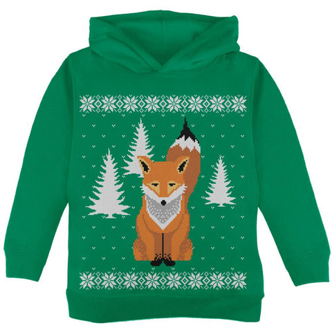Big Fox Ugly Christmas Sweater Green Toddler Hoodie
