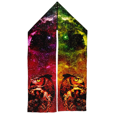 Galaxy Zen Wisdom Owl Warm Fleece Scarf