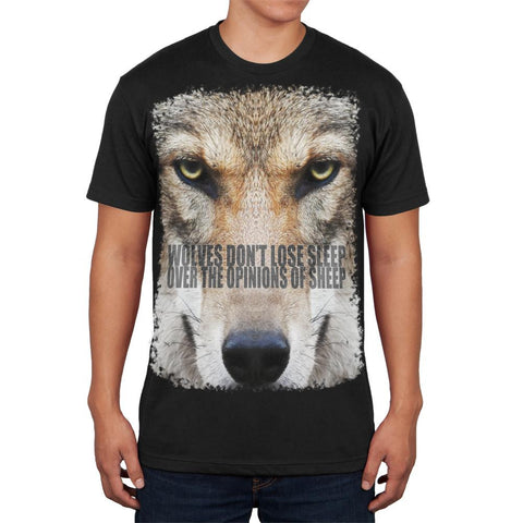 Wolves Sheep Opinions Quote Black Adult Soft T-Shirt