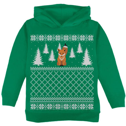 Fox Ugly Christmas Sweater Green Toddler Hoodie