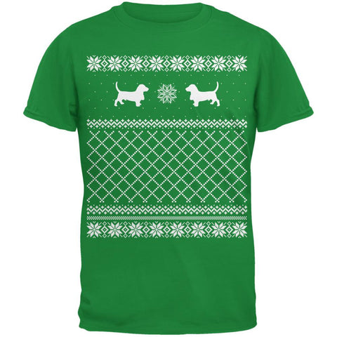 Basset Ugly Christmas Sweater Irish Green Adult T-Shirt