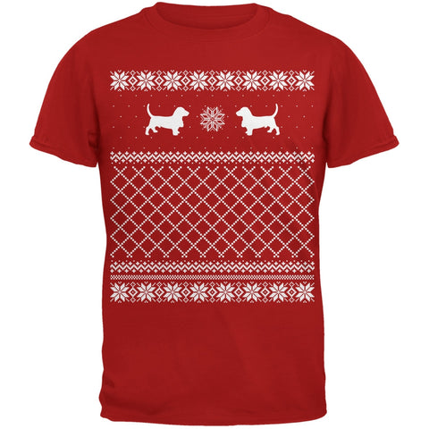 Basset Ugly Christmas Sweater Red Adult T-Shirt