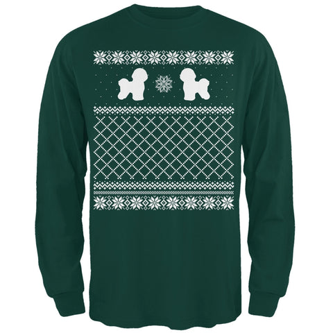 Bichon Frise Ugly Christmas Sweater Forest Adult Long Sleeve T-Shirt