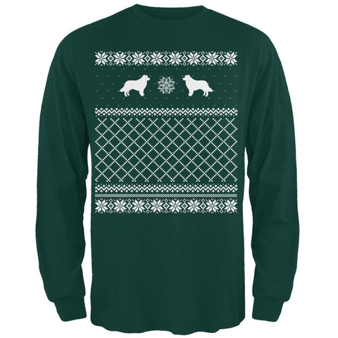 Border Collie Ugly Christmas Sweater Forest Adult Long Sleeve T-Shirt