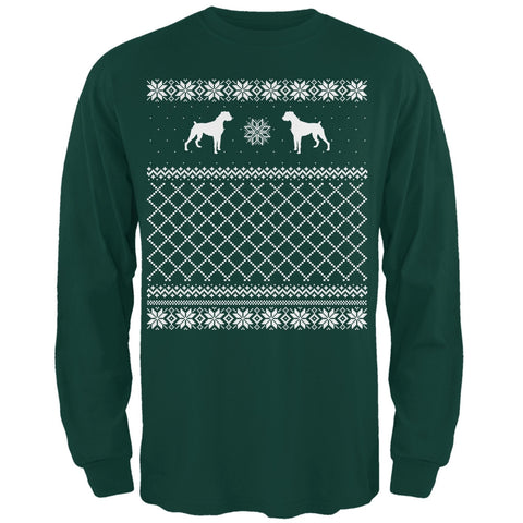 Boxer Ugly Christmas Sweater Forest Adult Long Sleeve T-Shirt