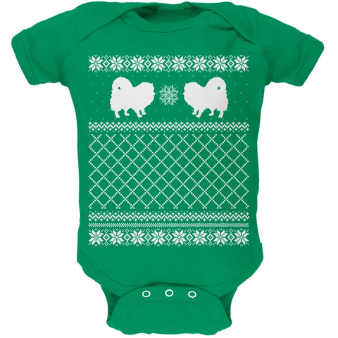 Pomeranian Ugly Christmas Sweater Kelly Green Soft Baby One Piece