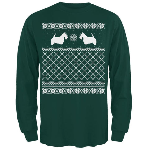 Scottie Ugly Christmas Sweater Forest Adult Long Sleeve T-Shirt