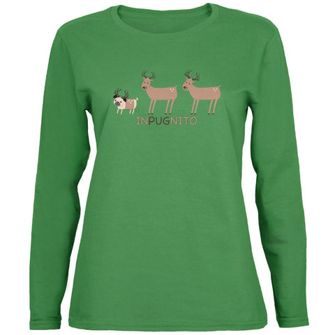 INPUGNITO Deer Green Womens Long Sleeve T-Shirt