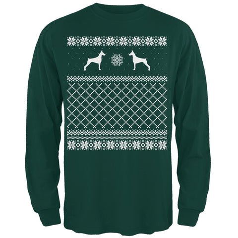 Doberman Ugly Christmas Sweater Forest Adult Long Sleeve T-Shirt