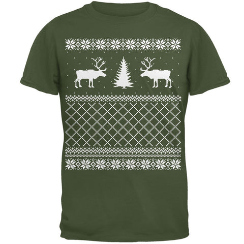Reindeer Caribou Ugly Christmas Sweater Military Green Adult T-Shirt