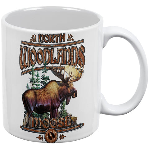 Northwoods Moose White All Over Coffee Mug