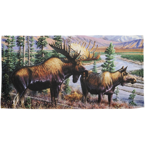 Moose Couple in Nature All Over Beach Towel
