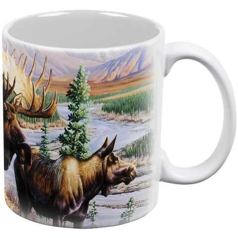 Moose Couple in Nature White All Over Coffee Mug