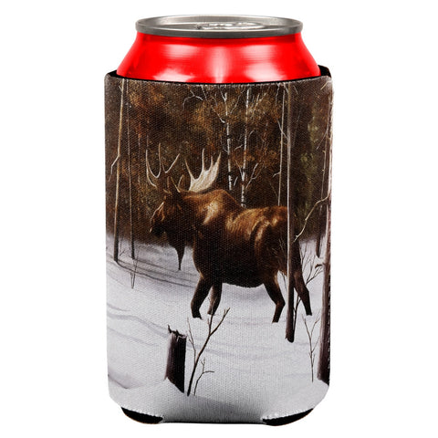 Moose Winter Woodlands All Over Can Cooler