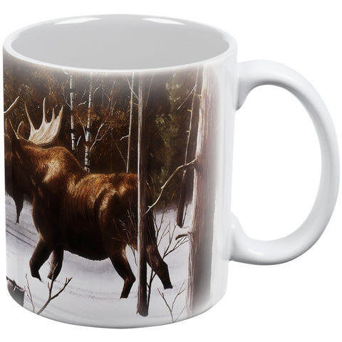 Moose Winter Woodlands White All Over Coffee Mug