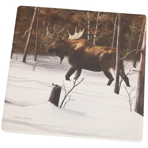 Moose Winter Woodlands Set of 4 Square Sandstone Coasters