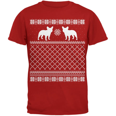 French Bulldog Ugly Christmas Sweater Red Adult T-Shirt