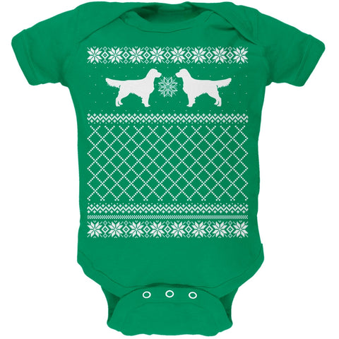 Golden Retriever Ugly Christmas Sweater Kelly Green Soft Baby One Piece