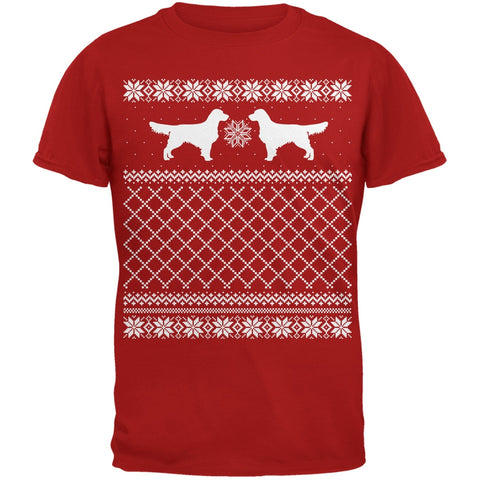 Golden Retriever Ugly Christmas Sweater Red Adult T-Shirt