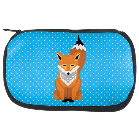 Winter Pixelated Fox Makeup Bag