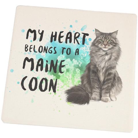 My Heart Belongs Maine Coon Cat Square Sandstone Coaster