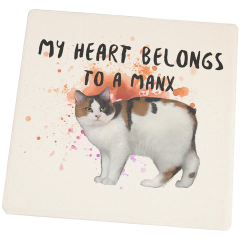 My Heart Belongs Manx Cat Set of 4 Square Sandstone Coasters