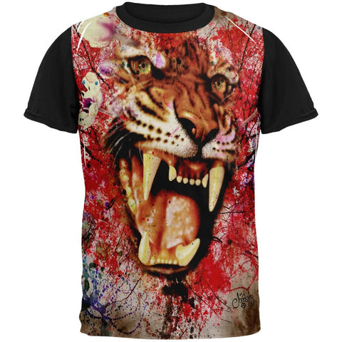 Painted Angry Tiger Adult Black Back T-Shirt