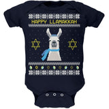 Llama Llamakkah Ugly Hanukkah Sweater Navy Soft Baby One Piece