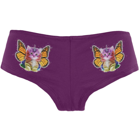 Rainbow Butterfly Unicorn Kittens Currant Women's Booty Shorts