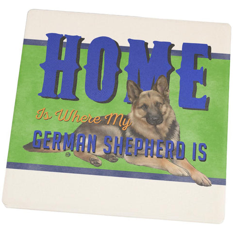 Home is Where My German Shepherd Is Square Sandstone Coaster