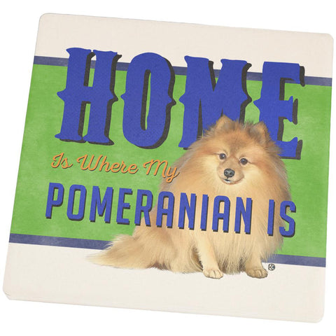 Home is Where My Pomeranian Is Set of 4 Square Sandstone Coasters