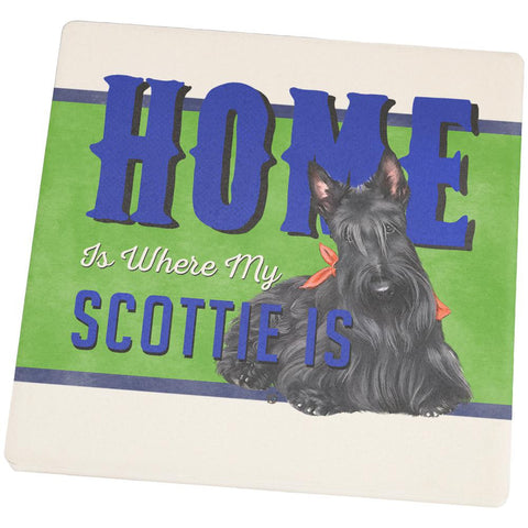 Home is Where My Scottie Scottish Terrier Is Square Sandstone Coaster