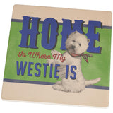 Home is Where My Westie West Highland Terrier Is Square Sandstone Coaster
