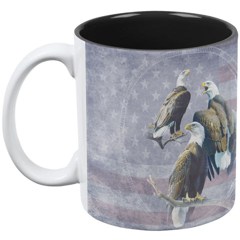 Eagle Trio America White-Black All Over Coffee Mug