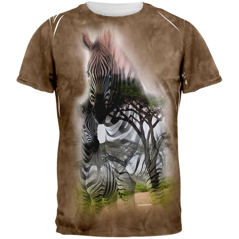 Zebra Savanna Double Exposure Tie Dye All Over Adult T-Shirt
