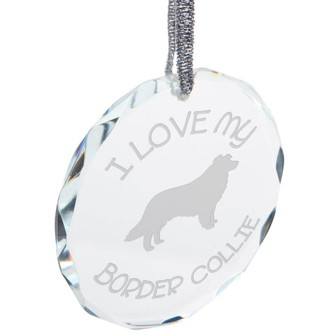 I Love My Border Collie Etched Round Crystal Ornament