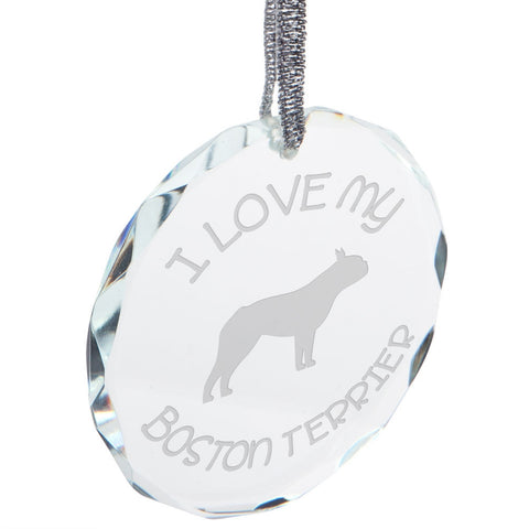 I Love My Boston Terrier Etched Round Crystal Ornament