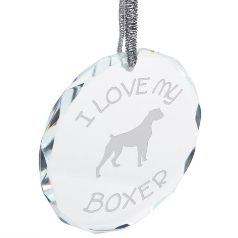 I Love My Boxer Etched Round Crystal Ornament