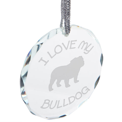 I Love My Bulldog Etched Round Crystal Ornament