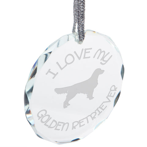 I Love My Golden Retriever Etched Round Crystal Ornament
