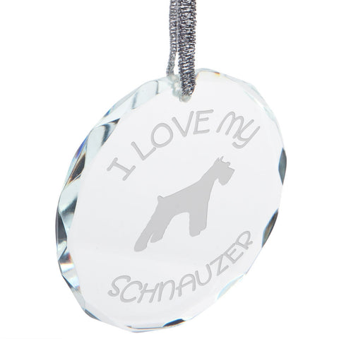 I Love My Schnauzer Etched Round Crystal Ornament
