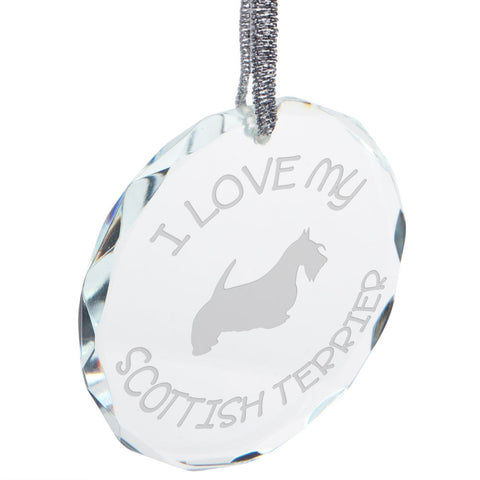 I Love My Scottish Terrier Etched Round Crystal Ornament