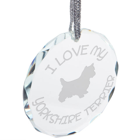 I Love My Yorkshire Terrier Etched Round Crystal Ornament
