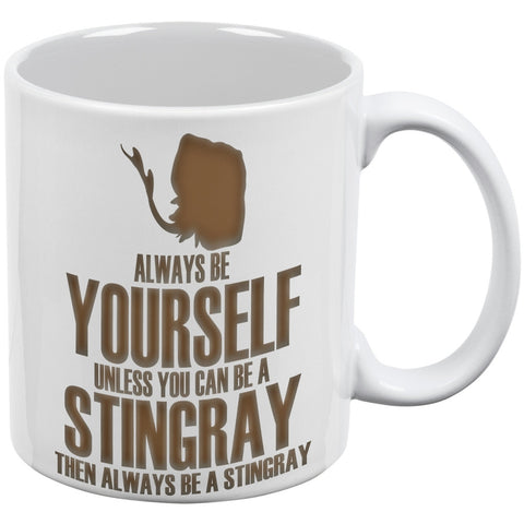 Always Be Yourself Stingray White All Over Coffee Mug Set of 2