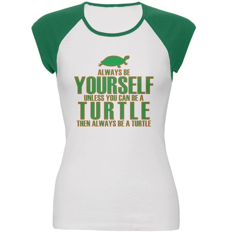 Always Be Yourself Turtle White-Kelly Green Juniors Cap-Sleeve Raglan T-Shirt