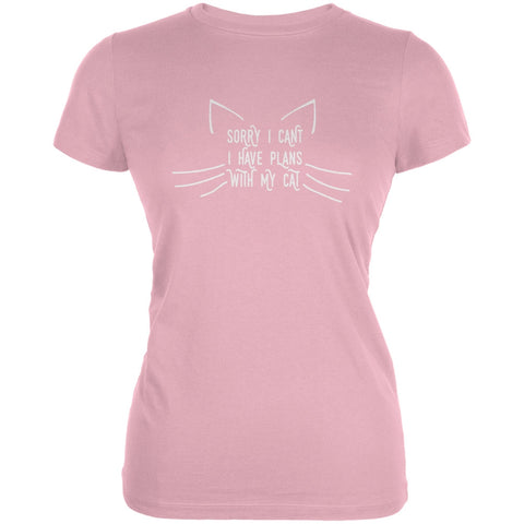 Sorry I Can't Cat Pink Juniors Soft T-Shirt