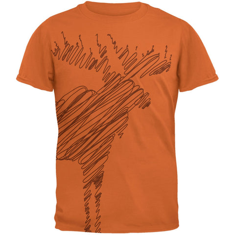 Moose Scribble Drawing All Over Texas Orange Adult T-Shirt