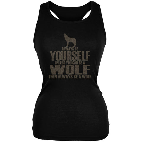 Always Be Yourself Wolf Black Juniors Soft Tank Top