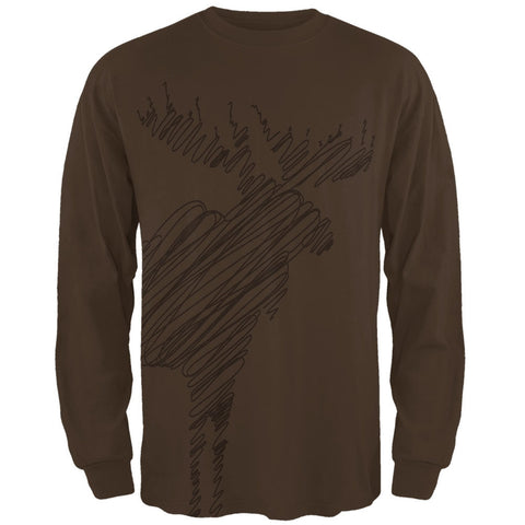 Moose Scribble Drawing All Over Brown Adult Long Sleeve T-Shirt