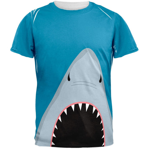 Summer Shark Attack Teeth All Over Adult T-Shirt
